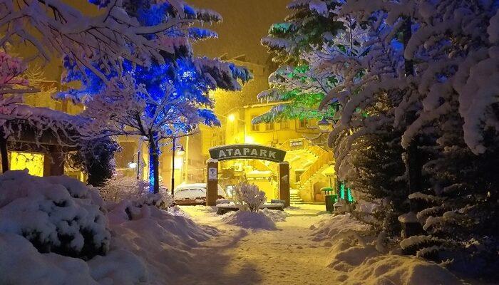 Artvin'de gece başlayan kar yağışı şehri beyaza bürüdü