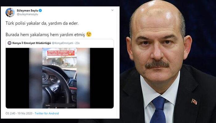 Bakan Soylu paylaştı: Türk polisi yakalar da, yardım da eder