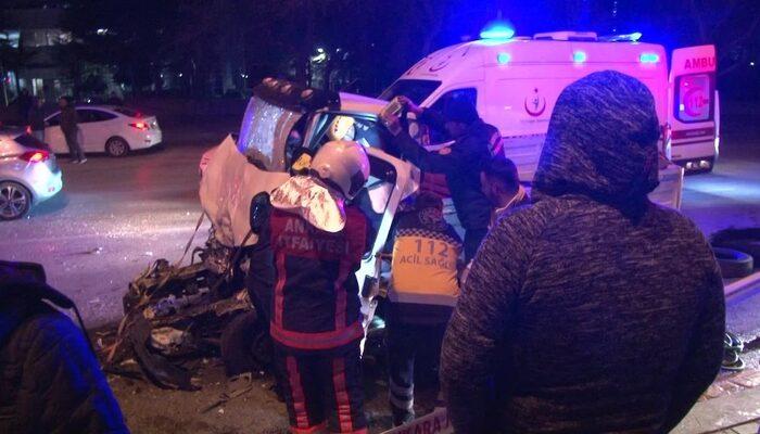Başkent'te otobüse arkadan çarpan kamyonetin sürücüsü öldü