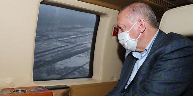 Cumhurbaşkanı Erdoğan, Rize-Artvin Havalimanını havadan inceledi