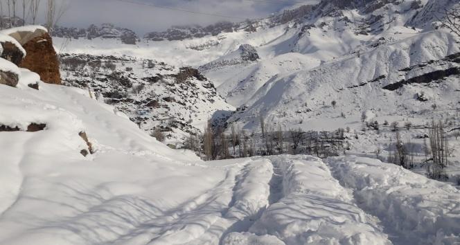 Kar kalınlığı 2 metreye ulaştı, köy yolları ulaşıma kapandı