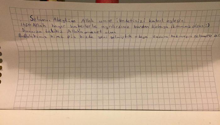 Karantina yurduna gelecek olanlara bir öğrenci kolonya ve not bıraktı