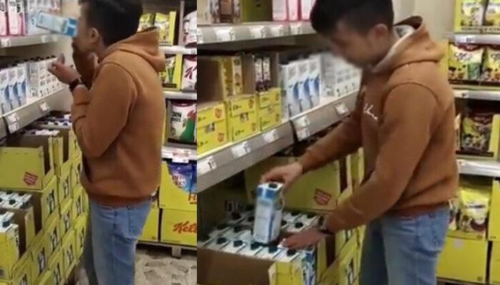 Raflardaki sütü içip yerine koymuştu! Yakalandı