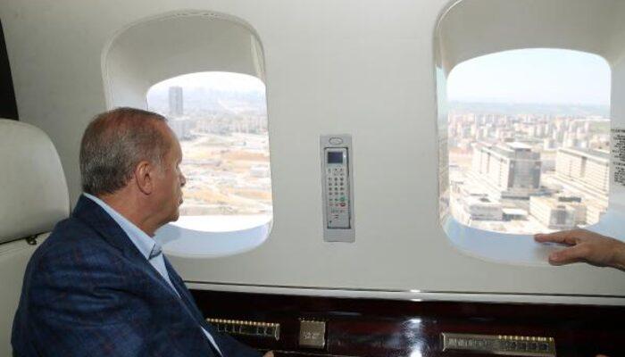 Son dakika: Cumhurbaşkanı Erdoğan hastane inşaatlarını havadan inceledi