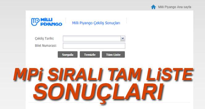 Milli Piyango 19 Kasım 2019 SIRALI...