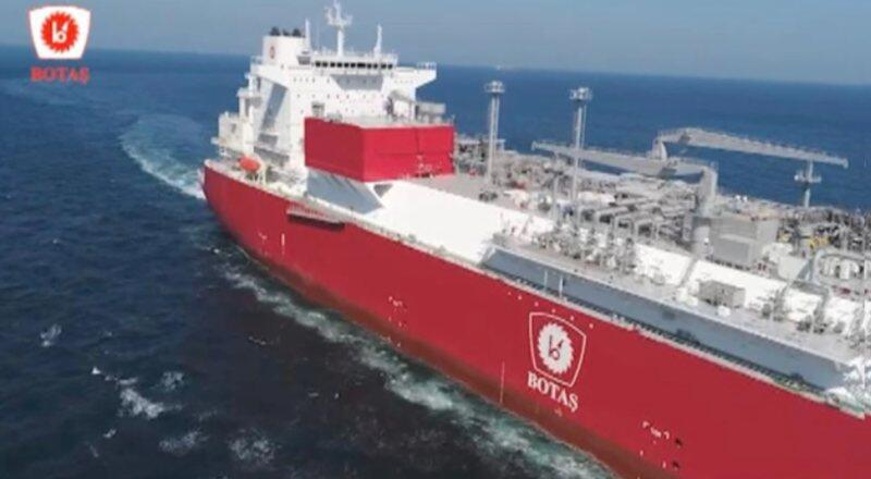 Türkiye'nin ilk yüzer LNG depolama gemisi Ertuğrul Gazi'ye bayrak çekildi